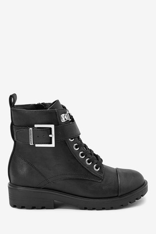 Black Lace-Up Military Boots (Older)