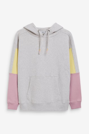 Grey Colourblock Washed Hoodie