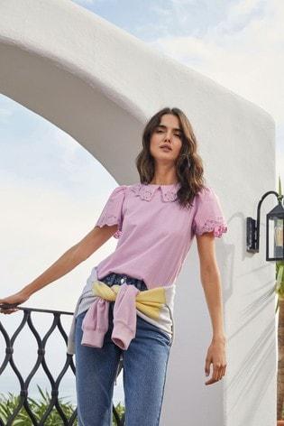Lilac Cutwork Collar T-Shirt