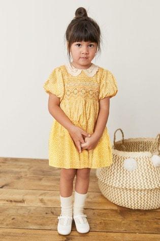 Ochre Geo Lace Collar Shirred Cotton Dress (3mths-8yrs)