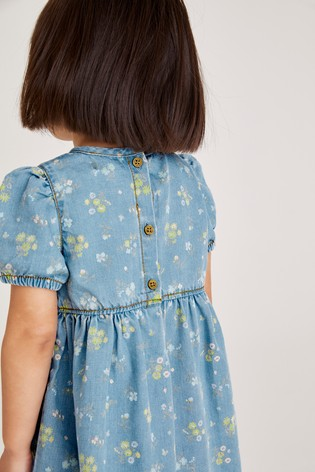 Blue Floral Puff Sleeve Denim Dress (3mths-7yrs)