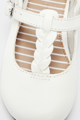 White Leather Plait T-Bar Shoes (Younger)