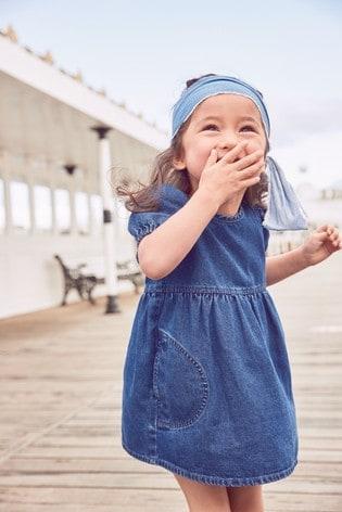 Mid Wash Puff Sleeve Denim Dress (3mths-7yrs)