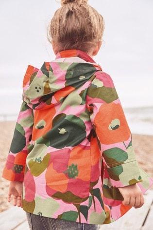 Pink Shower Resistant Floral Print Jacket (3mths-7yrs)
