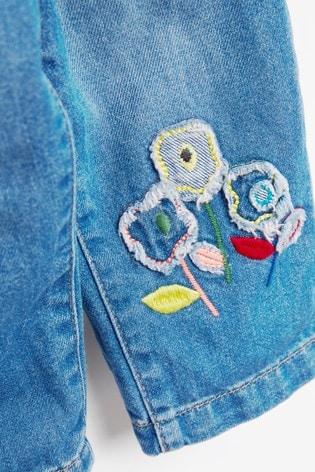 Denim Pull-On Tie Belt Jeans With Flower Detail (3mths-7yrs)