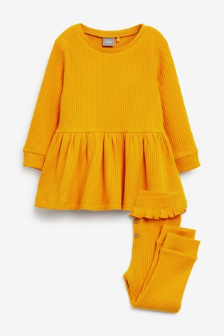 Ochre Long Sleeve Knitted Peplum Jogger Set (3mths-7yrs)