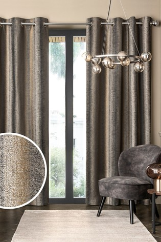 Metallic Stripe Eyelet Lined Lined Curtains