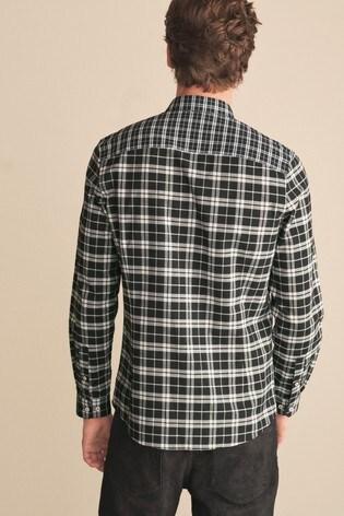 Black/White Mixed Check Stretch Oxford Shirt