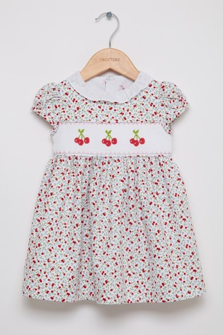 Trotters London Red Cherry Smocked Willow Dress