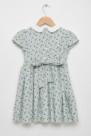 Trotters London Blue Catherine Smocked Dress