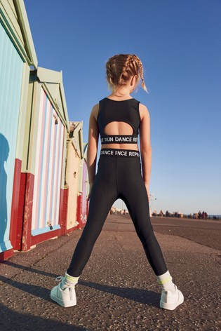 Black Crop Top And Leggings 2 Piece Sports Set (3-16yrs)