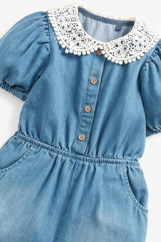 Denim Light Blue Denim Collar Playsuit (3mths-7yrs)