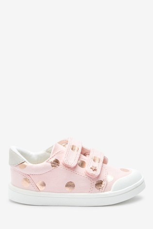 Pink Spot Standard Fit (F) Canvas Bumper Toe Trainers (Younger)