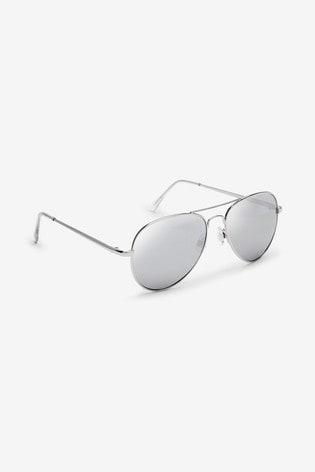 Silver Aviator Style Sunglasses