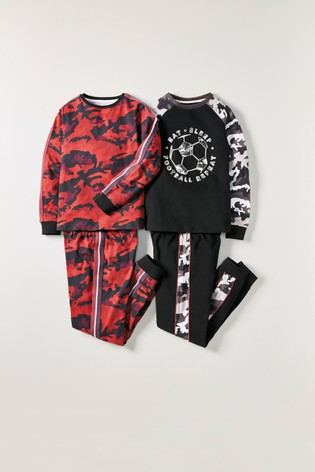 Red/Black Football 2 Pack Camouflage Pyjamas (3-16yrs)