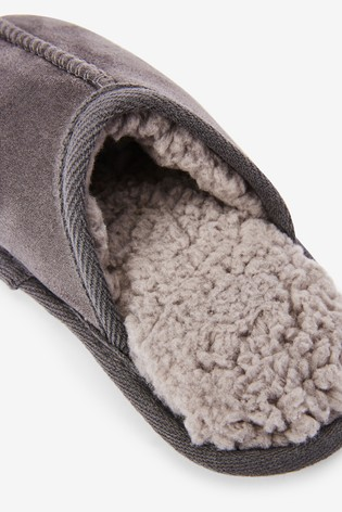 Grey Slip-On Mule Slippers (Older)
