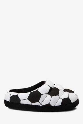 Monochrome Football Mule Slippers
