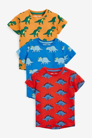 Bright Dino 3 Pack All Over Print T-Shirts (3mths-7yrs)