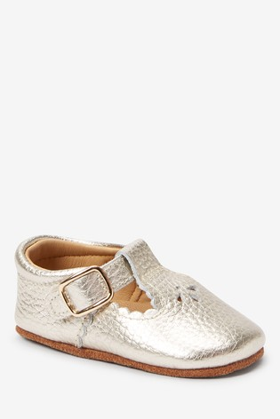 Gold Leather Little Luxe™ T-Bar Pram Shoes (0-18mths)