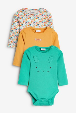 Multi Bright 3 Pack Floral Bodysuits (0mths-2yrs)