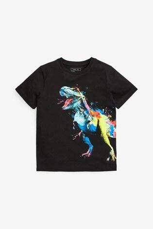 Black Rainbow Dino Graphic T-Shirt (3-16yrs)