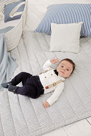 Navy/White Smart Four Piece Shirt Body, Bow Tie, Trousers And Braces Set (0mths-2yrs)