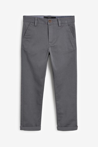 Charcoal Slim Fit Stretch Chino Trousers (3-16yrs)