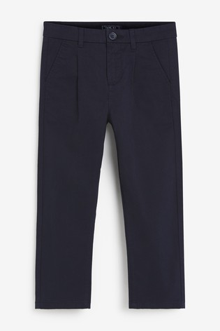 Navy Pleat Front Chinos (3-16yrs)