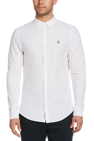 Original Penguin White Slim Fit Cotton Oxford Shirt