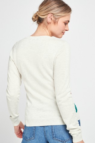 Grey Rainbow Sequin Graphic Jumper