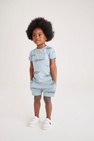 Blue All Over Printed T-Shirt And Shorts Set (3mths-7yrs)