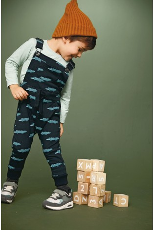 Black Crocodile All Over Printed Jersey Dungarees And T-Shirt Set (3mths-7yrs)