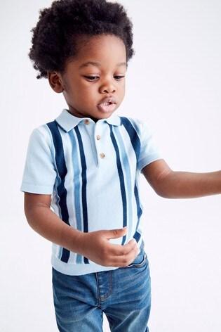 Blue Knitted Vertical Stripe Polo Shirt (3mths-7yrs)