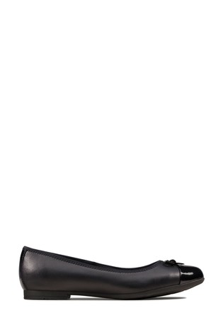 Clarks Black Leather Scala Bloom Y Shoes