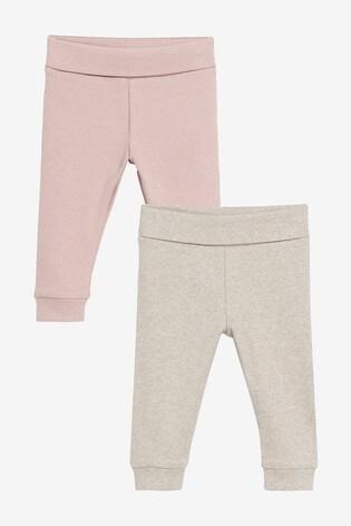 Pink/Oatmeal 2 Pack Leggings (0mths-2yrs)