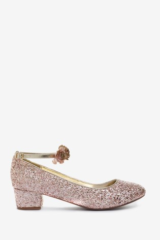 Monsoon Pink Cancan Glitter Corsage Heeled Shoes