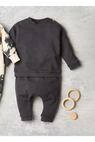 Charcoal GOTS Organic Sweatshirt And Joggers Set (0mths-2yrs)