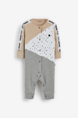 Monochrome 3 Pack Colourblock Stripe Sleepsuits (0mths-3yrs)