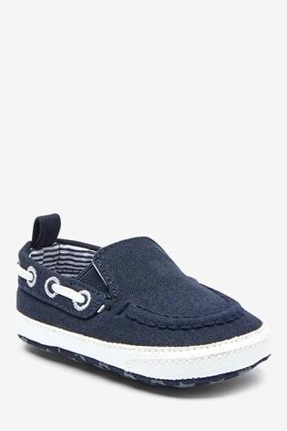 Navy Pram Slip-On Boat Shoes (0-24mths)