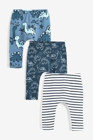 Blue 3 Pack Leggings (0mths-3yrs)