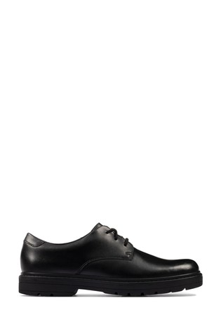 Clarks Black Leather Loxham Derby Youths Shoes