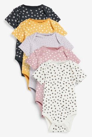 Monochrome 5 Pack Short Sleeve Bodysuits (0mths-3yrs)