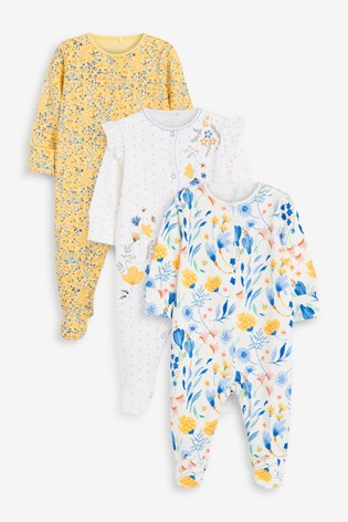 Ochre Floral 3 Pack Embroidered Detail Sleepsuits (0-3yrs)
