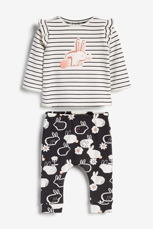 Monochrome Bunny Frill Sleeve Top And Legging Set (0mths-2yrs)