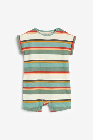 Green Stripe 3 Pack Rompers (0mths-3yrs)