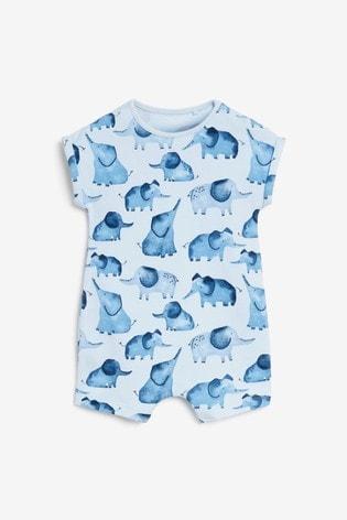 Blue Elephant 3 Pack Appliqué Rompers (0mths-3yrs)