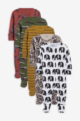 Modern Animal 5 Pack Printed Sleepsuits (0-2yrs)
