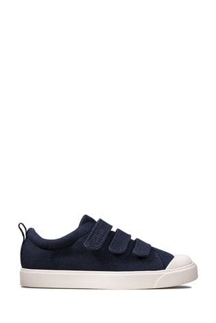 Clarks Navy Canvas City Vibe K Canvas Shoes