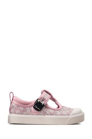 Clarks Pink Floral City Dance T Canvas Shoes