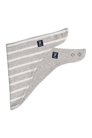 Polarn O. Pyret Grey Organic Cotton Striped Bib